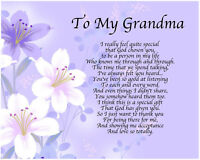 Personalised To My Grandma Poem Mothers Day Birthday Christmas Gift Present