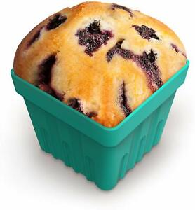 Fred & Friends FRESH PICKED Blueberry Muffin Baking Cups, Silicone Set of 4 Blue