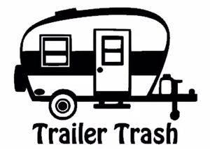 Trailer Trash Camper Decal   Black