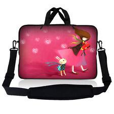 """13.3"""" 13"""" Laptop Sleeve Bag w Shoulder Strap Chromebook Macbook Pink Girl Red"""
