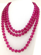 """Gemstone Beads Knotted Each Beads Single Long 50"""" Necklace Jade 8mm Round"""