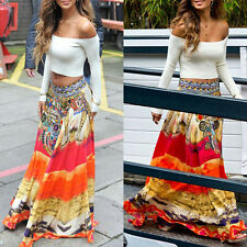 Women's Gypsy Boho Tribal Floral Skirt Maxi Summer Beach Long Summer Skirt Dress