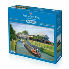 GIBSONS END OF AN ERA 1000 PIECE JIGSAW PUZZLE - BARRY FREEMAN, TRAINS & BARGES