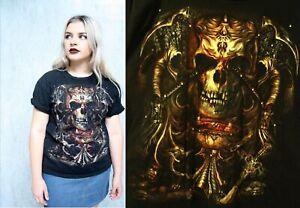 VINTAGE Skull T Shirt bt15 Grunge Biker Harley Grim Reaper Sword 90s 80s Large L