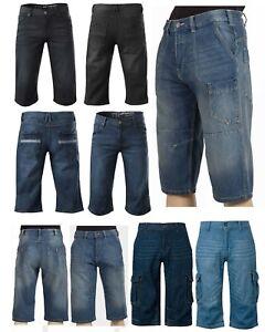 New Mens Jeans Denim Cargo Shorts 3/4 Bermuda Ex UK Chainstore UK Size 30 - 42