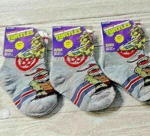Ninja Turtles Boy's Safety toe socks 3 pair 4-5.5