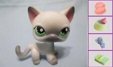 Littlest Pet Shop #125 gray & white Siamese Cat +1 FREE Access 100% Authentic