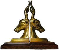 "Pair of 9"" African Antelope Head Bookends Solid Brass Art Sculpture Statue"