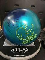 BRUNSWICK RHINO GREEN AND BLUE BOWLING BALL 10.4 pounds