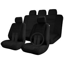 Car Seat Covers Solid Black 17pc Full Set w/Steering Wheel/Belt Pad/Head Rest
