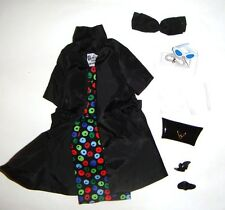Barbie Fashion Apple-Print Black Sheath Dress For Barbie Doll Repro vf35