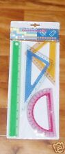 Geometry Set ~ Protractor Triangles Ruler ~ 4 Pieces