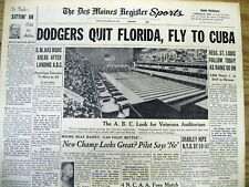1959 newspaper LOS ANGELES DODGERS are LAST BASEBALL TEAM to PLAY in Castro CUBA