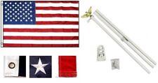 3x5 Us Usa flag American Embroidered Stars & Stripes 6ft Flag Pole Kit House