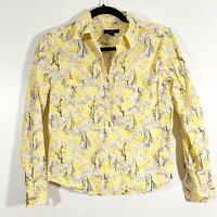 Gap Size XS Womens Yellow Printed Snap Button Front Long Sleeve Popover Blouse