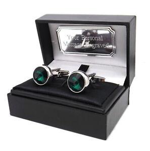 Emerald Green Swarovski Crystal Gem Mens Gift Cuff Links custom mens gift
