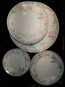 Vintage Gibson China Dinnerware, Lilies & Tulips, 4 Settings, 4 Pieces Each, EUC