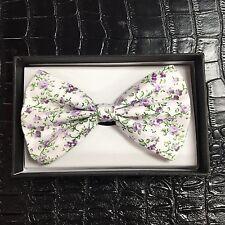 White Flower BowtieTuxedo Unique Style Neckwear Adjustable Adult Men Bow Tie