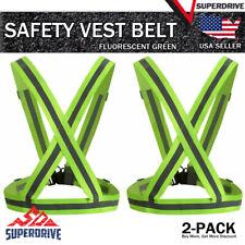 2-Pack Adjustable Safety Running High Visibility Reflective Vest Gear Strap Belt