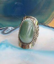 Ring Alpaca Silver Agate Green Stone Ethno Inka Maya Native American Style 17