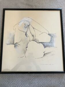 🔥 Antique Mid Century Modern Abstract Painting, Nude Woman - Hans Burkhardt
