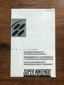 Consumer Information and Precautions Booklet SNES Super Nintendo Manual Only