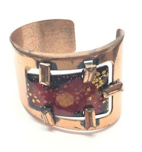 "Vintage Bracelet Matisse Renoir Enamel Red Cuff Modernist 6.5"" Mid Century"