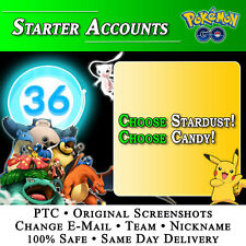 Pokemon GO Account • Level 36 • STARTER • CHOOSE STARDUST & CANDY