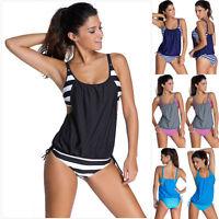Womens Tankini Bikini Set Push Up Padded Swimwear Ladies Beach Bathing Swimsuit