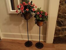 New listing 2 Matching Antique Wrought Iron Metal Plant Stands Cast Leaf vtg victorian Rare