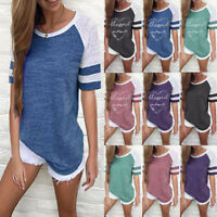 Womens Short Sleeve Crew Neck Sweatshirt Pullover Top Lady Casual T-Shirt Blouse