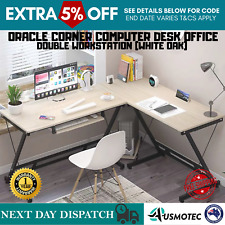 Office Computer Desk Corner Double Workstation L-Shape White Student Study Table