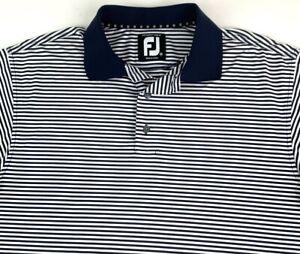 FootJoy FJ Mens Prodry Lisle Golf Polo Shirt SS Navy Blue White Striped Size M