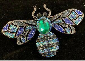 Huge 72mm Wide Pave Crystal Bumble Bee Brooch Pin 18 Grams Green Blue Black