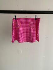 D&G Dolce and Gabbana Beachwear Pink Houndstooth Pocket Swim Beach Skirt UK M