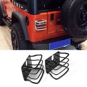 for 87-06 Jeep Wrangler TJ YJ Taillight Tail Light Guards Steel Protector Black