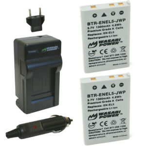 Wasabi Power Battery (2-Pack) and Charger for Nikon EN-EL5