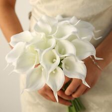 USA SELLER 18 PCS Artificial Real Touch Calla Lily Fake Flowers Bridal Wedding