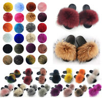 Women Real Fur Flat Shoes Fluffy Flip Flop Slippers Sliders Sandals Indoor Sizes