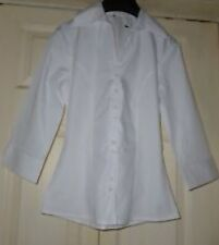 GEORGE ASDA PLAIN WHITE FORMAL WORK SHIRT BLOUSE 3/4 SLEEVES 22 and 24 PLUS SIZE