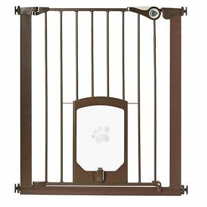 MyPet Tall Pet Gate Passage Walk Through 29.75 x 39 x 36 Gate with Door, Bronze