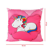 Einhorn-Kissen rosa Reißverschluss Kissen Kuschelkissen Sofakissen 40 x 40 cm
