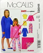 Girls Pajama PJs Top Pants Night Shirt Blanket Pattern M4963 XS Small McCalls
