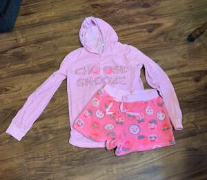 Girls Justice Choose Snooze Fleece Sweatshirt & Shorts Pajamas-size 14/16