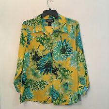 Russell Kemp Woman- Yellow Floral Long Sleeve Sheer Button Up Blouse Size 0X