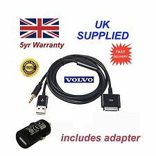 Volvo Iphone Ipod Usb & Aux Cable Reemplazo & Adaptador En Negro