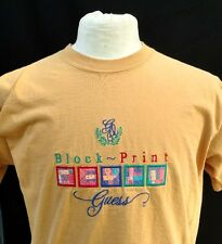 Vtg Guess Georges Marciano T Shirt Block Print Made in USA Yellow ONE SIZE L