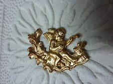 raw brass heavy stamping WINGED CHERUB PLAYING MANDOLIN IN THE WOODS A434