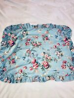 VTG RALPH LAUREN*YVETTE GARDEN FLORAL BLUE&PINK RUFFLED SHAM PILLOW CASE