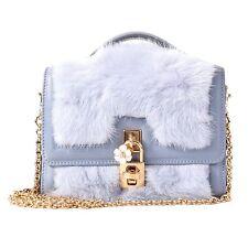 DOLCE & GABBANA Mink Fur Nappa Shoulder Bag Clutch Wallet PHONE BAG Gray 05744